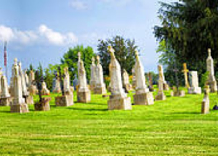 Rural Cemetery Greeting Card featuring the photograph Tall Tombstones Panorama by Thomas Woolworth