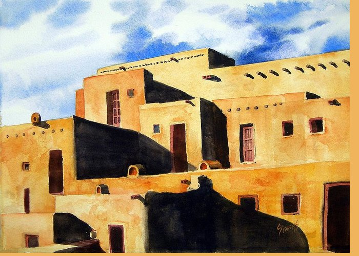 Pubelo Greeting Card featuring the painting Taos Pueblo by Sam Sidders