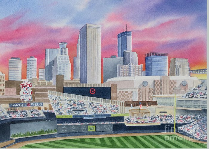 Target Field Greeting Card featuring the painting Target Field by Deborah Ronglien