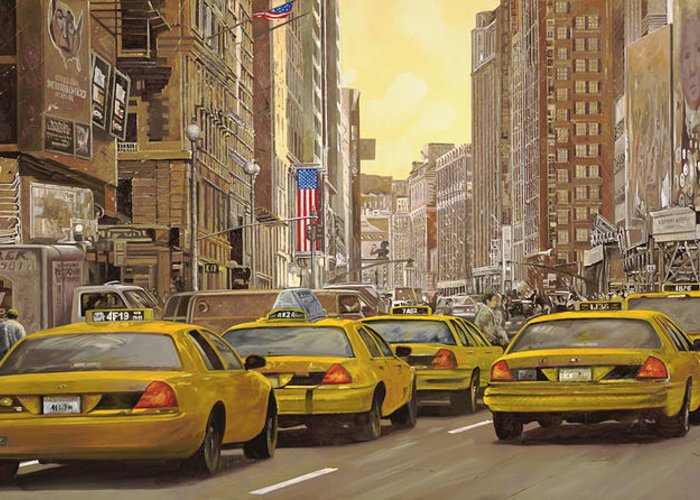 New York Greeting Card featuring the painting taxi a New York by Guido Borelli