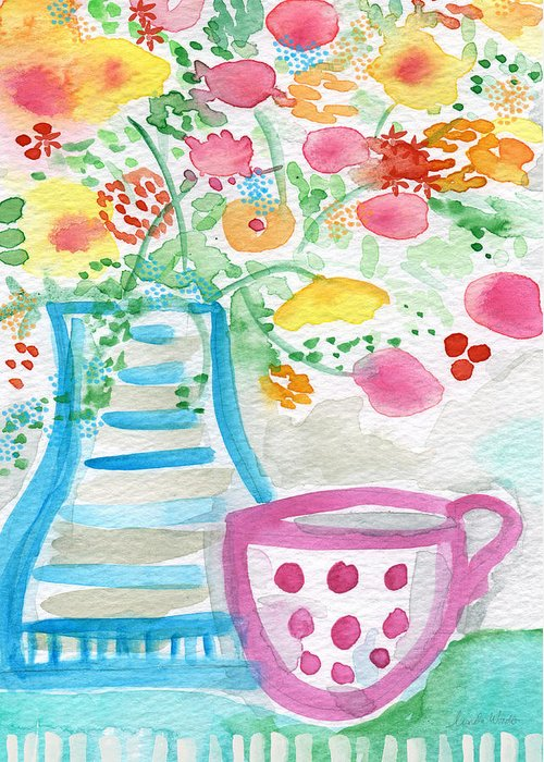 Flowers Greeting Card featuring the painting Tea And Fresh Flowers- Whimsical Floral Painting by Linda Woods