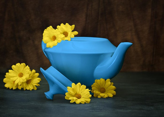 Art Greeting Card featuring the photograph Tea Kettle With Daisies Still Life by Tom Mc Nemar