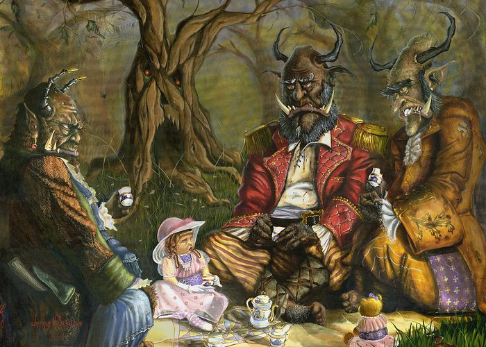 Tea Party Greeting Card featuring the painting Tea With The Ogres by Jeff Brimley