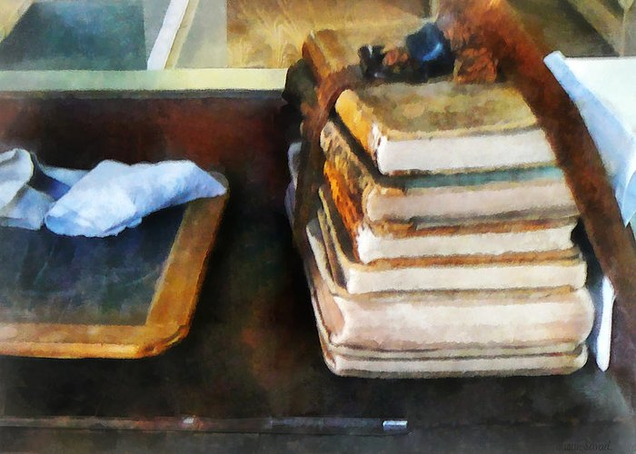 School Greeting Card featuring the photograph Teacher - Old School Books And Slate by Susan Savad
