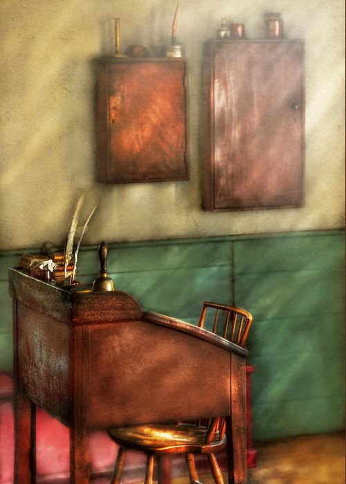 Savad Greeting Card featuring the photograph Teacher - The Teachers Desk by Mike Savad