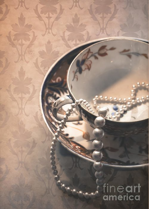 Aged Greeting Card featuring the photograph Teacup And Pearls by Jan Bickerton