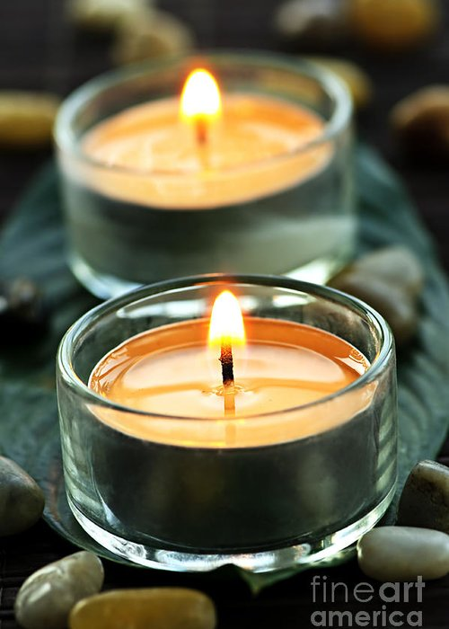 Candles Greeting Card featuring the photograph Tealights by Elena Elisseeva