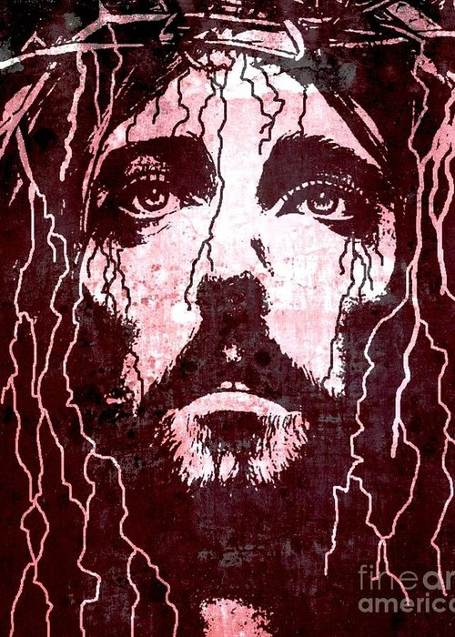 Jesus Greeting Card featuring the painting Tears Of Jesus by Mike Grubb