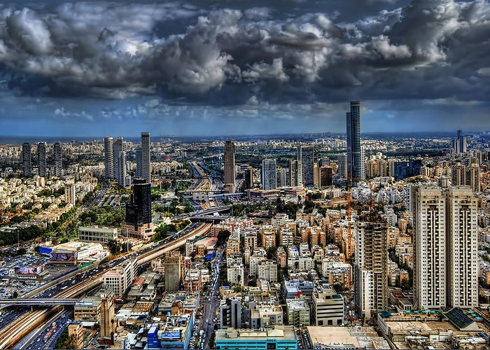 Israel Greeting Card featuring the photograph Tel Aviv Love by Ron Shoshani