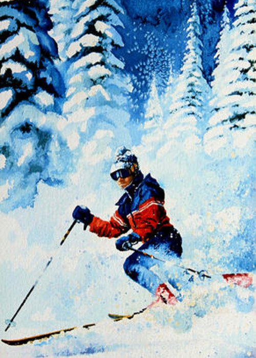 Skier Greeting Card featuring the painting Telemark Trails by Hanne Lore Koehler