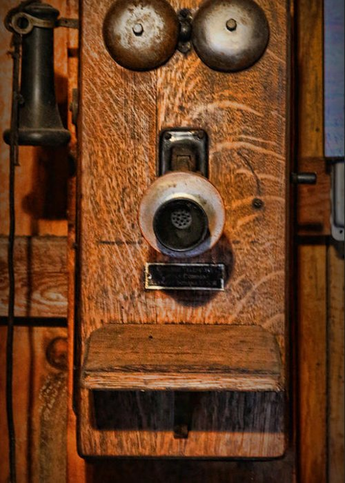 Gift For Greeting Card featuring the photograph Telephone - Antique Wall Telephone by Lee Dos Santos