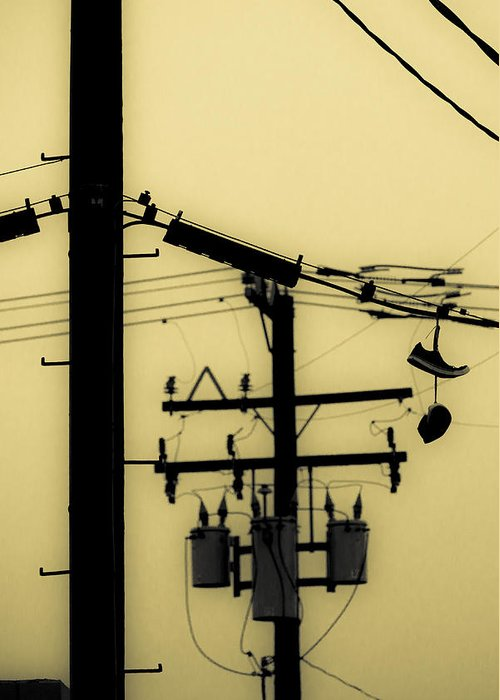 Telephone Pole Greeting Card featuring the photograph Telephone Pole And Sneakers 5 by Scott Campbell