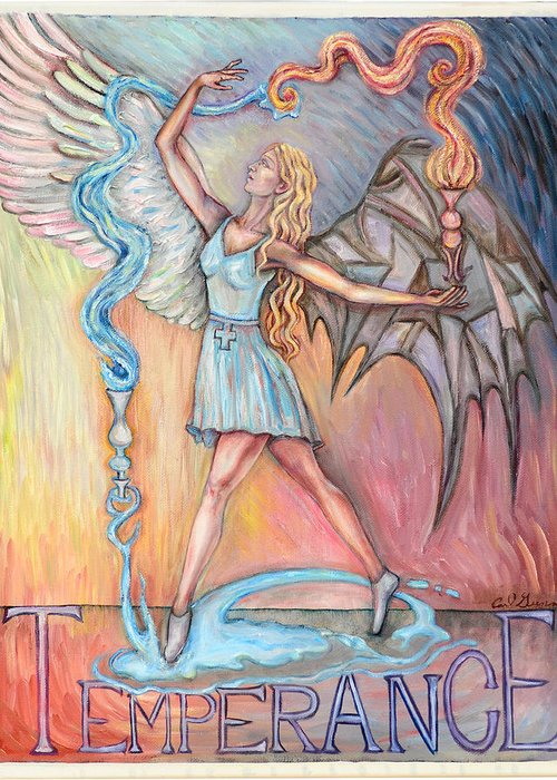 Switch Greeting Card featuring the glass art Temperance by Carl Geenen