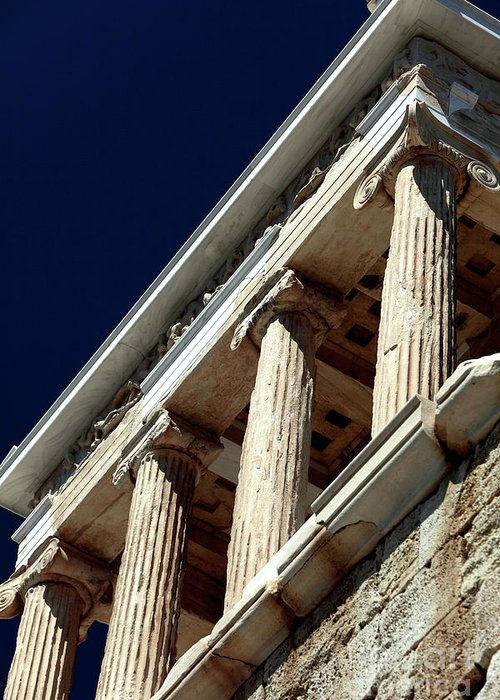Temple Of Athena Nike Columns Greeting Card featuring the photograph Temple Of Athena Nike Columns by John Rizzuto