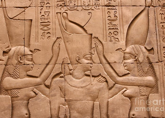 Relief Greeting Card featuring the photograph Temple Of Horus Relief by Stephen & Donna O'Meara