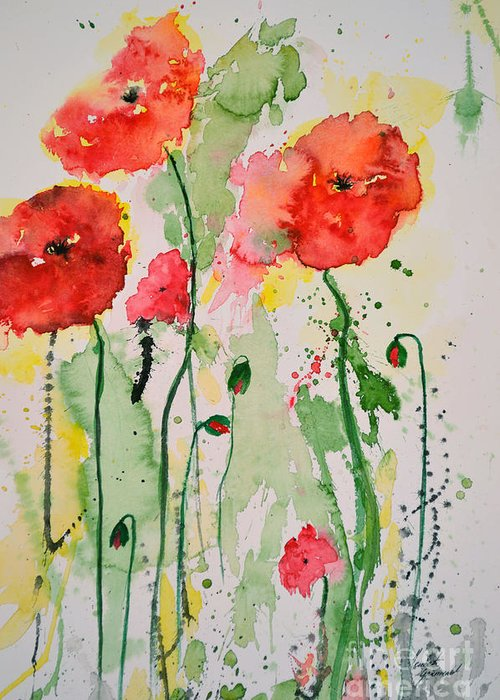 Poppies Greeting Card featuring the painting Tender Poppies - Flower by Ismeta Gruenwald