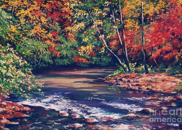 Tennessee Greeting Card featuring the painting Tennessee Stream In The Fall by John Clark