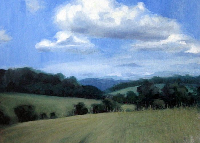 Tennessee Greeting Card featuring the painting Tennessee's Rolling Hills And Clouds by Erin Rickelton
