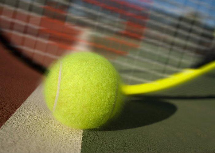 Tennis Greeting Card featuring the photograph Tennis Ball And Racquet by Joe Belanger