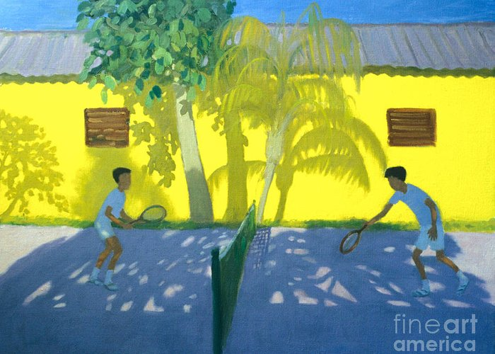 Andrew Macara Greeting Card featuring the painting Tennis Cuba by Andrew Macara