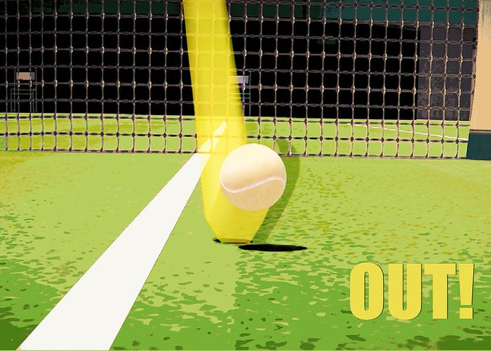 Tennis Greeting Card featuring the photograph Tennis Hawkeye Out by Natalie Kinnear