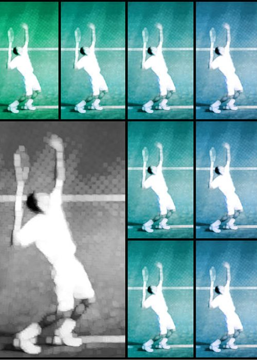 Tennis Greeting Card featuring the photograph Tennis Serve Mosaic Abstract by Natalie Kinnear