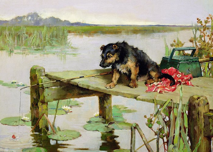 Dog Greeting Card featuring the painting Terrier - Fishing by Philip Eustace Stretton