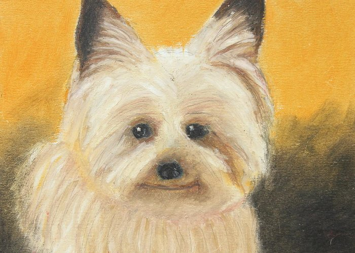 Mammal Greeting Card featuring the painting Terrier by Jeanne Fischer