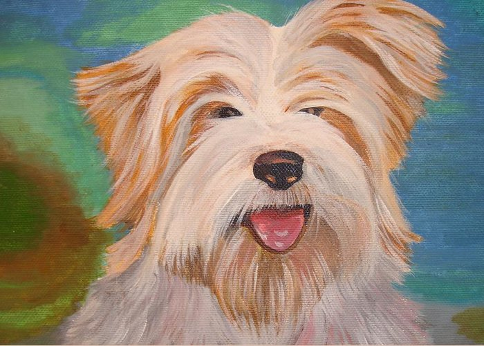 Dog Greeting Card featuring the painting Terrier Portrait by Tracey Harrington-Simpson