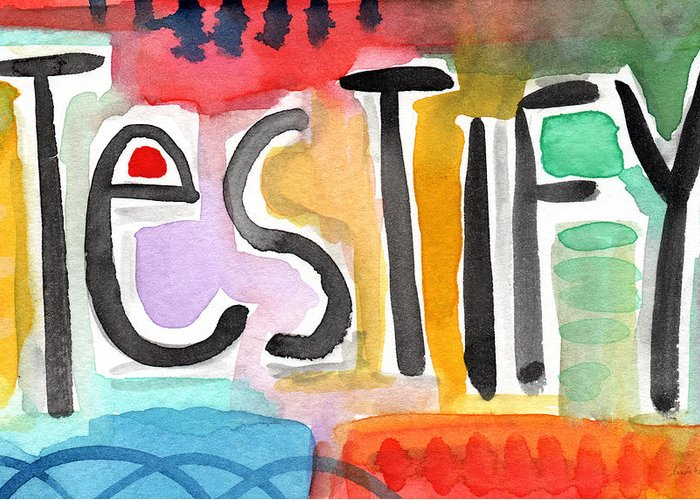 Testify Greeting Card featuring the painting Testify- Colorful Pop Art Painting by Linda Woods