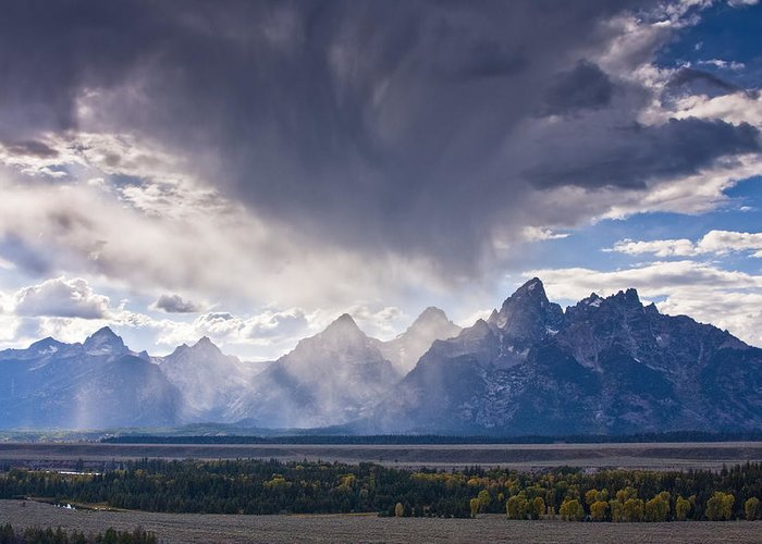 Autumn Greeting Card featuring the photograph Teton Storm by Mark Kiver