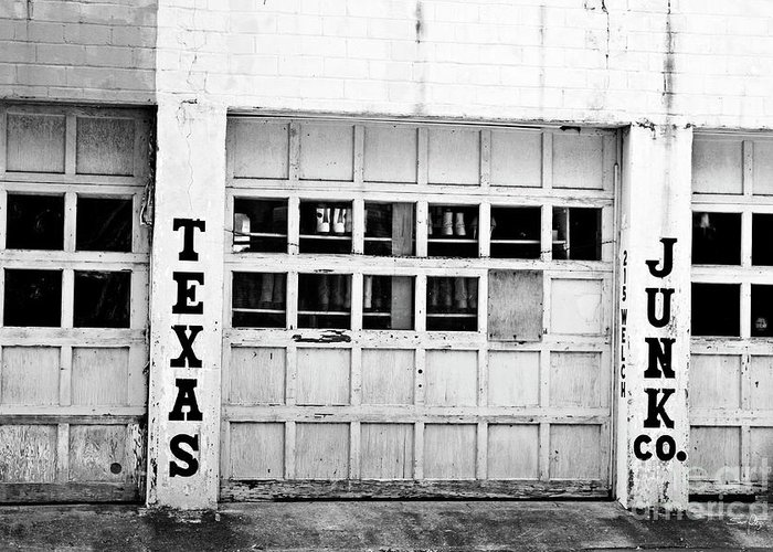 Black & White Greeting Card featuring the photograph Texas Junk Co. by Scott Pellegrin
