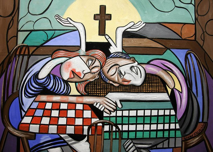 When Two Or More Are Gathered Greeting Card featuring the painting Thank You Jesus When Two Or More Are Gathered by Anthony Falbo