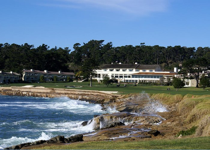 The 18th At Pebble Greeting Card featuring the photograph The 18th At Pebble Beach by Barbara Snyder