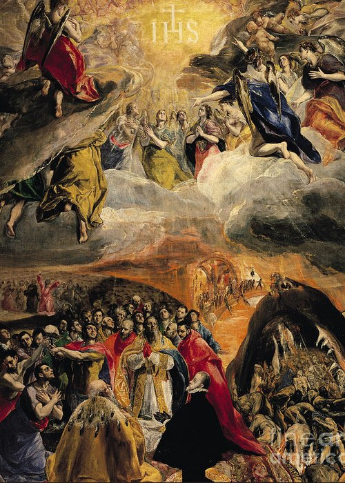 Doge Of Venice; Pope; Last Judgement; Saved Souls; Angels; Three Allies; Ihs; Dream Of Philip Greeting Card featuring the painting The Adoration Of The Name Of Jesus by El Greco Domenico Theotocopuli