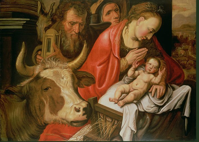 Shepherd Greeting Card featuring the painting The Adoration Of The Shepherds by Pieter Aertsen