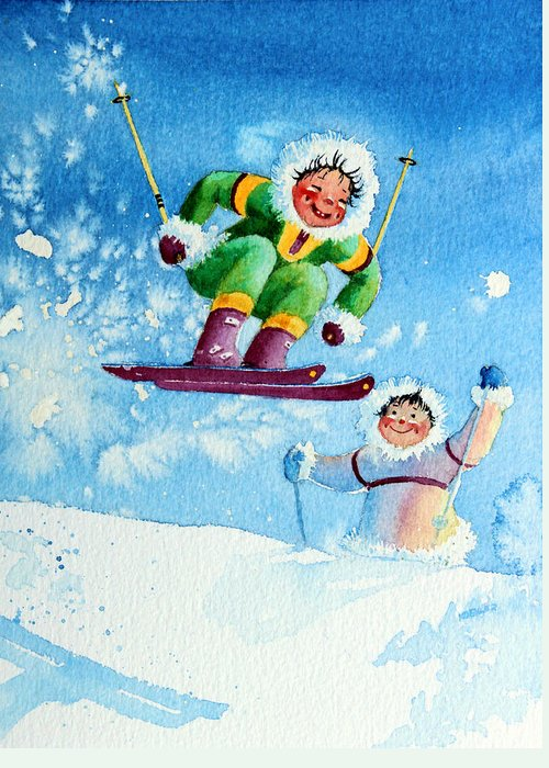 Kids Art For Ski Chalet Greeting Card featuring the painting The Aerial Skier - 10 by Hanne Lore Koehler