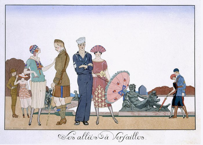 Print Greeting Card featuring the painting The Allies In Versailles by Georges Barbier
