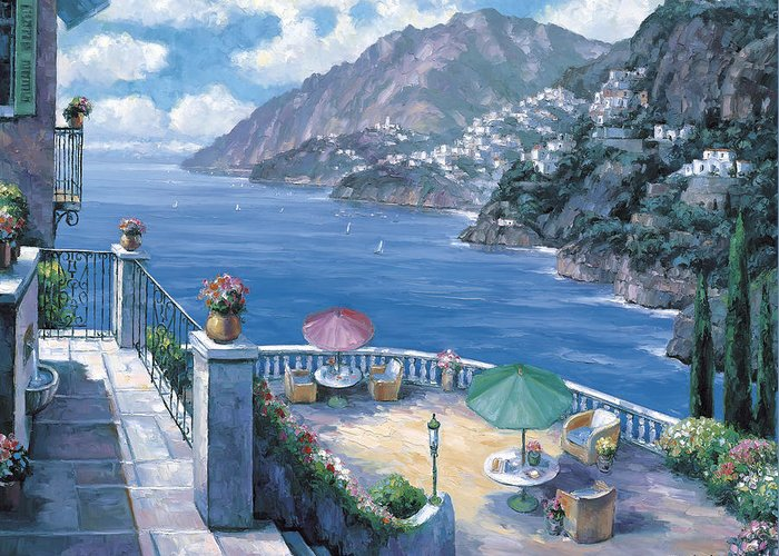 Pallet Greeting Card featuring the painting The Amalfi Coast by John Zaccheo