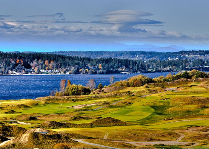 Chambers Bay Golf Course Greeting Card featuring the photograph The Amazing Chambers Bay Golf Course - Site Of The 2015 U.s. Open Golf Tournament by David Patterson