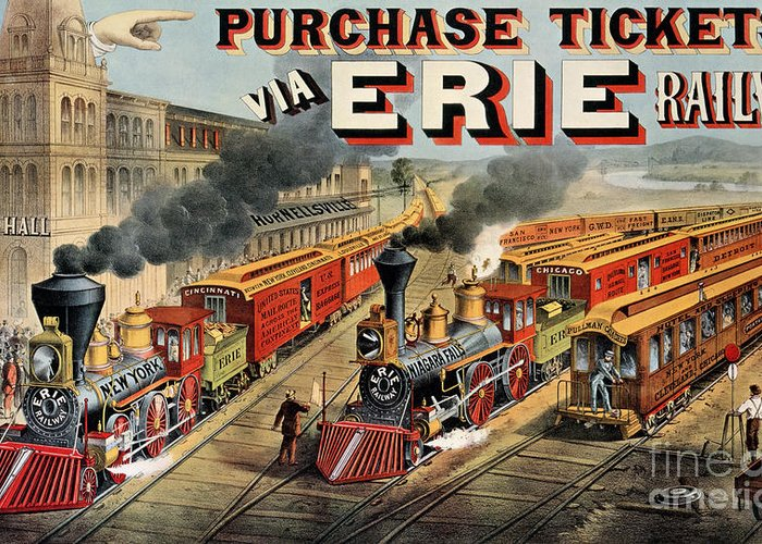Train Greeting Card featuring the painting The American Railway Scene by Currier and Ives