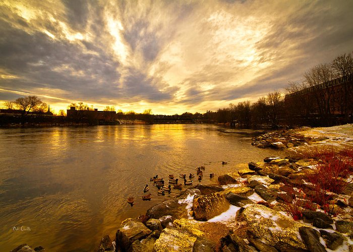 Auburn Greeting Card featuring the photograph The Androscoggin River Between Lewiston And Auburn by Bob Orsillo