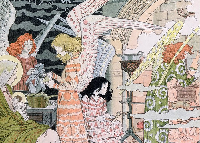 Angels Greeting Card featuring the painting The Angels Kitchen by Eugene Grasset