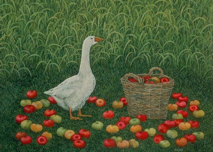 Goose Greeting Card featuring the painting The Apple Basket by Ditz