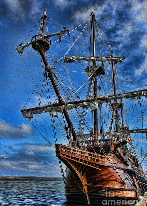 Ship Greeting Card featuring the photograph The Approaching Storm - Spanish Galleon by Lee Dos Santos