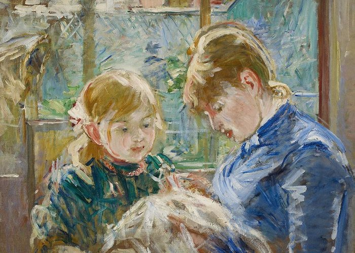 Berthe Greeting Card featuring the painting The Artists Daughter by Berthe Morisot