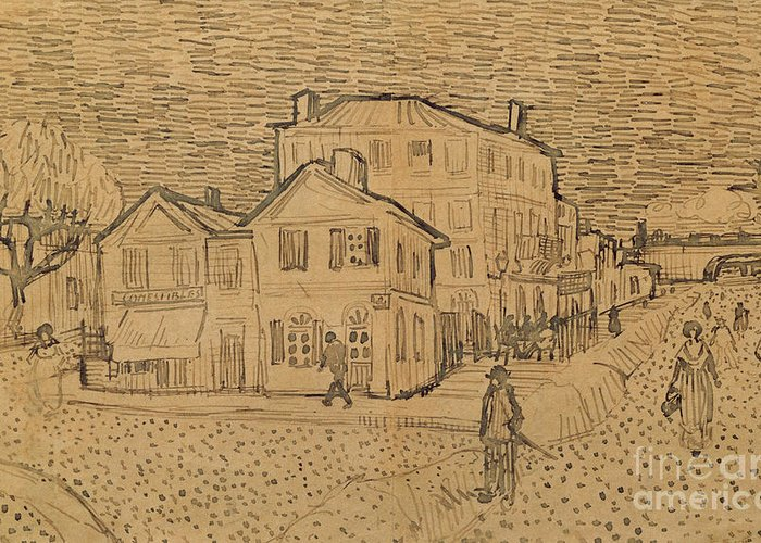 Drawing Greeting Card featuring the drawing The Artists House In Arles by Vincent Van Gogh