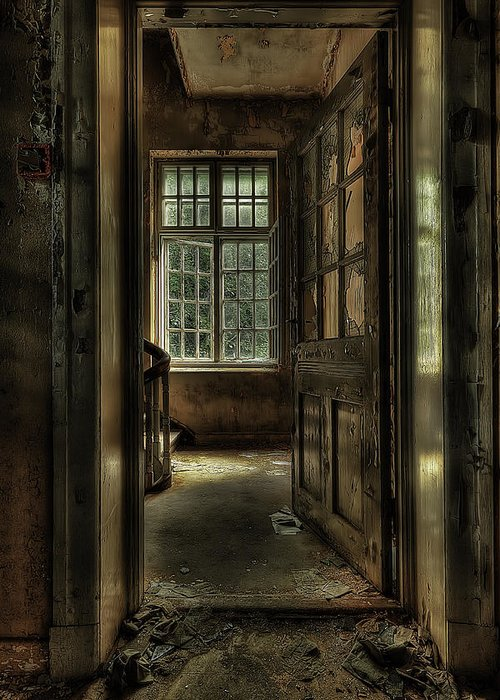 Brown Greeting Card featuring the photograph The Asylum Project - Welcome by Erik Brede