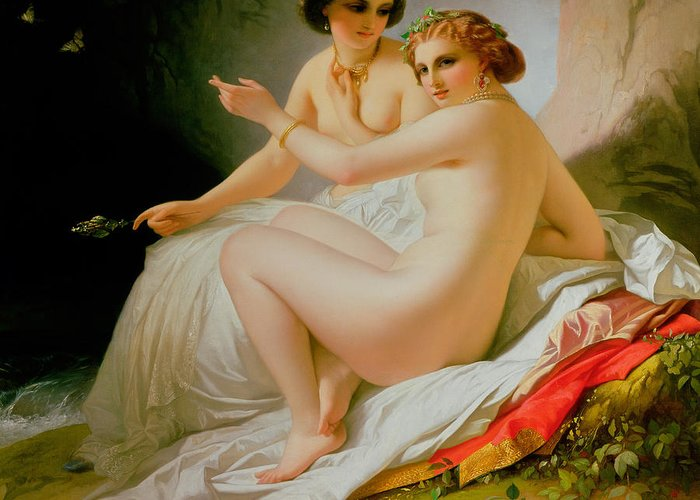 Nude Greeting Card featuring the painting The Bathers by Louis Hersent