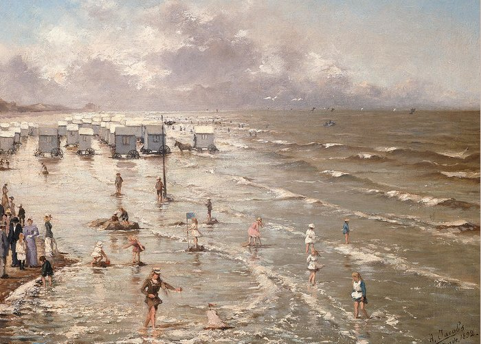 Beach Greeting Card featuring the painting The Beach At Ostend by Adolphe Jacobs